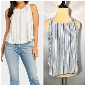Cloth andStone Side button frayed tank blue stripe